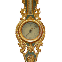 Louis XVI Gilt Wood Barometer and Thermometer