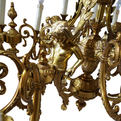 Large Bronze Chandelier Adorned with Cherubs