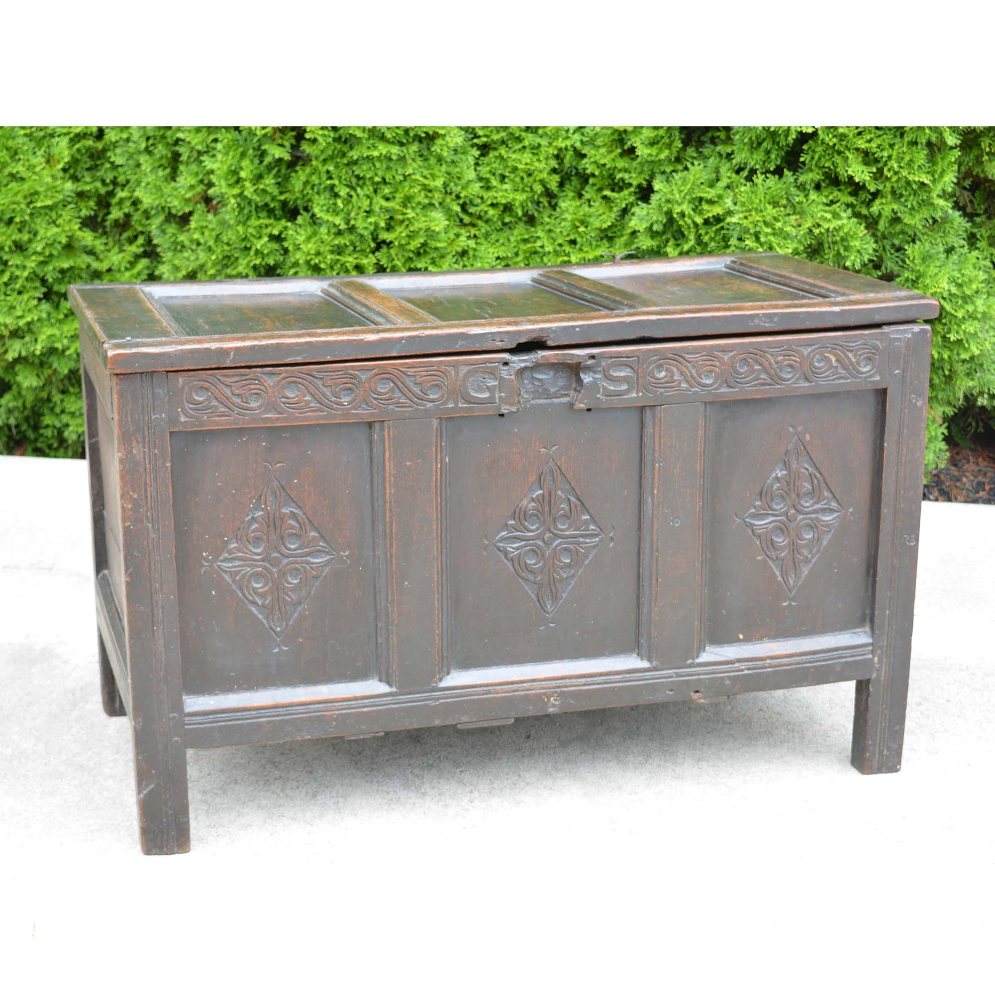Antique Early 18th Century English Carved Oak Three-Panel Chest European Finds