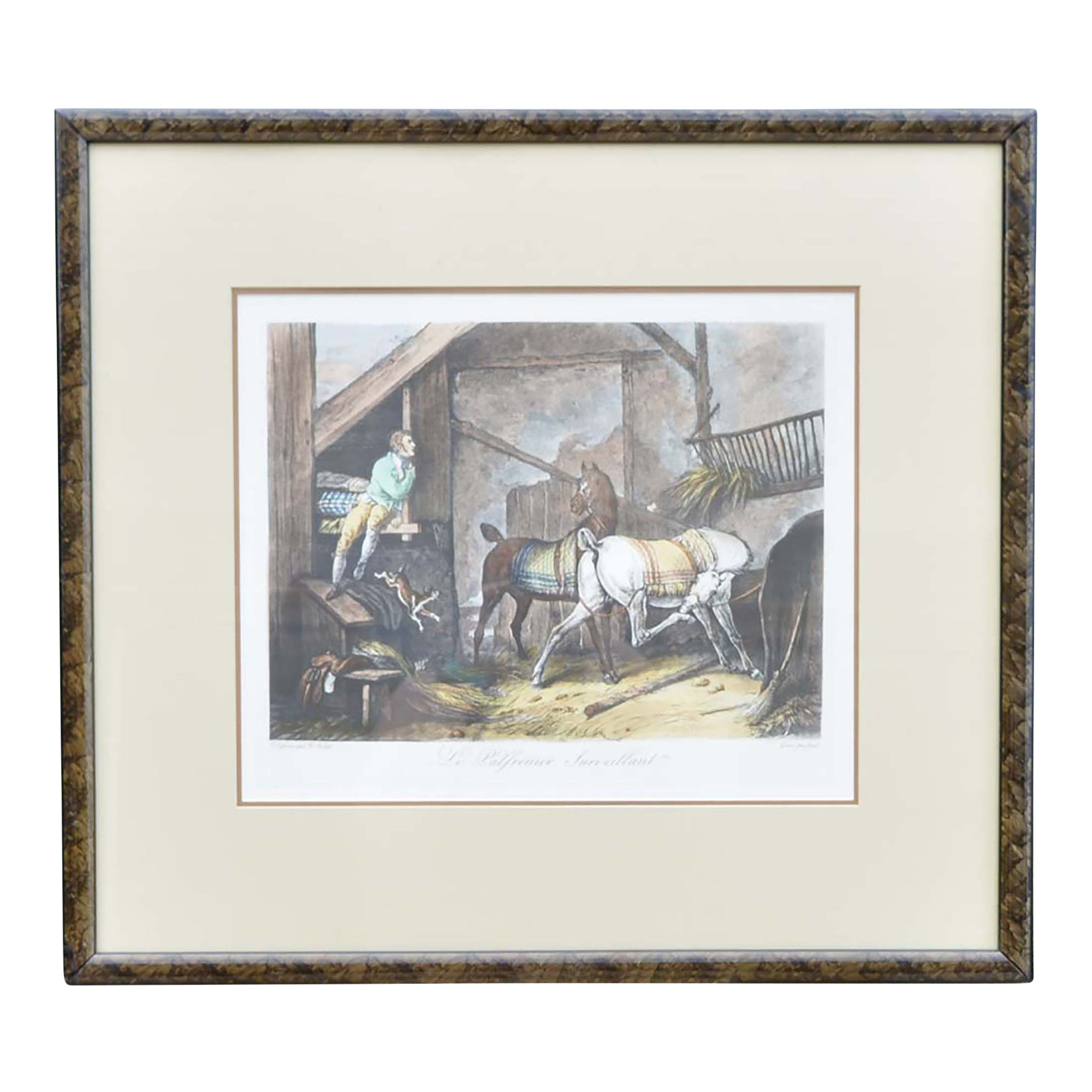 Framed Print of Horse Stable Scene by Carle Vernet