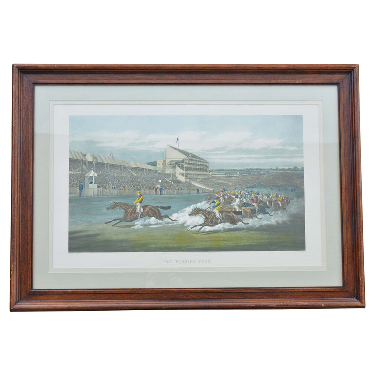 Colored Engraving Horse Race Scene Framed Print