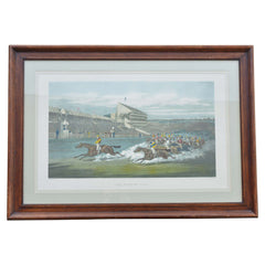 Colored Engraving Horse Race Scene Framed European Finds