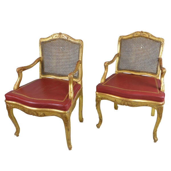 Pair Antique Gilded Wood Regency Chair Red Leather Cushion