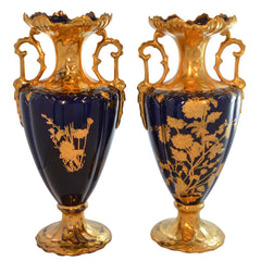 Pair 19th Century French Cobalt Blue Hand Painted Gold Accent Porcelain Vases