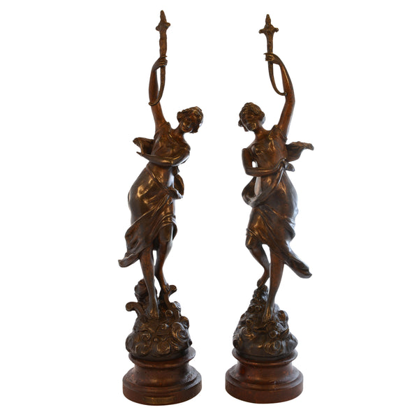 Pair of Neoclassical Women Statues with Eveil Poetique Plaque
