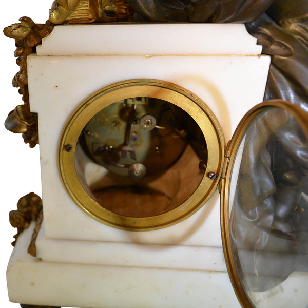Antique Mantle Clock on Marble Base Bronze and Patina Bronze Louis XVI Style