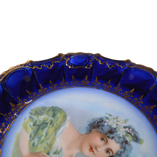 Victorian Flow Blue Hand Painted Plate