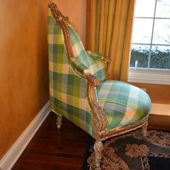 Antique Carved Corner Chair Silk Plaid Upholstery