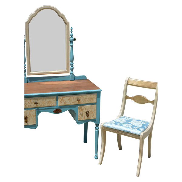 Painted Wood Makeup Vanity Desk with Mirror and Upholstered Chair