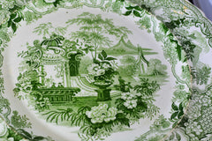 Antique Green Transferware Dinner Plates Sicilian and Verona Patterns