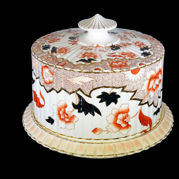 Victorian English Ceramic Cheese Dome with Printed and Hand Painted Decoration