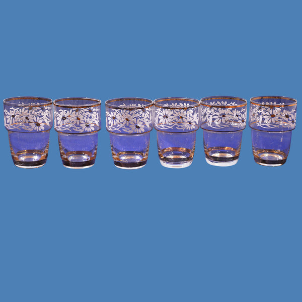 Belgium Shot Glass Set of 6 Hand Blown Hand Painted 24K Gold Accent