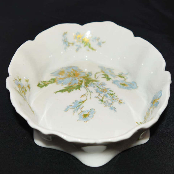 Limoges Trinket Bowl Blue Floral Design
