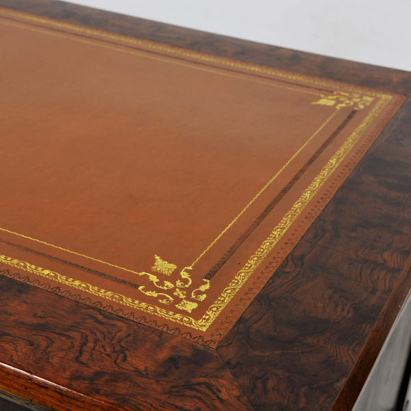 Napoleonic Era Leather Top Desk with Gold Inlay and Bronze Detail Circa 1815