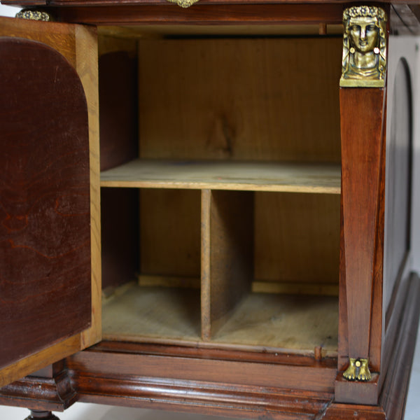 Napoleonic Era Leather Top Desk with Matching Bookcases with Bronze Detail Circa 1815 Desk Cabinet Open