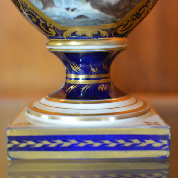 Antique English Derby Vase with View of Wales European Finds Bottom