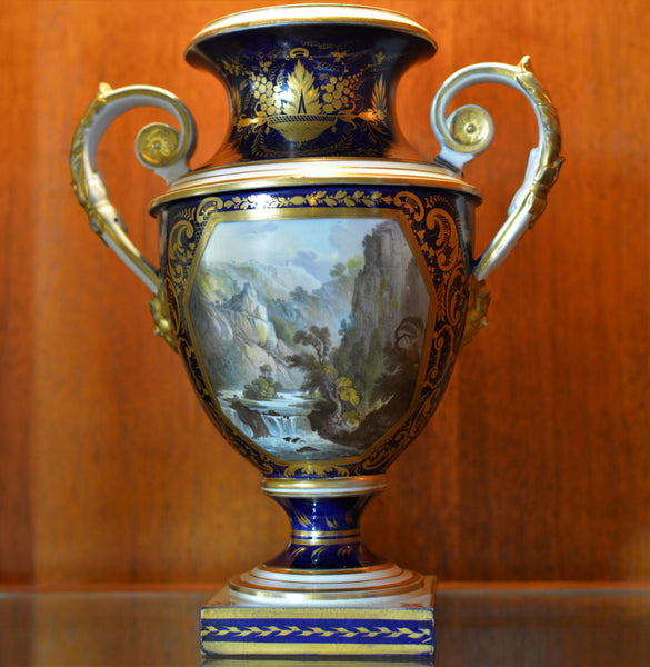 Antique English Derby Vase with View of Wales European Finds