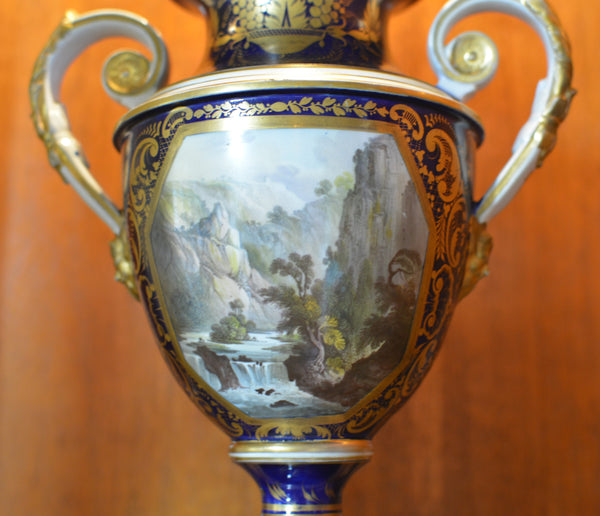Antique English Derby Vase with View of Wales European Finds Scene