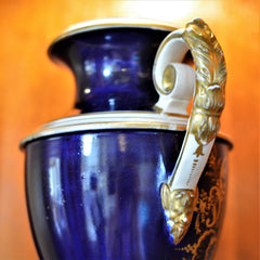 Antique English Derby Vase with View of Wales European Finds Side Handles