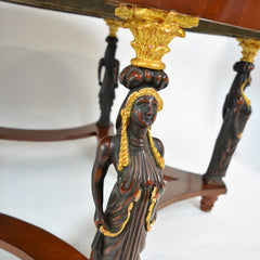 Large Five Leg Center Table with Carved and Gilt Details on Legs