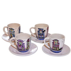 Handmade Espresso Cups with Underplates Set of 4