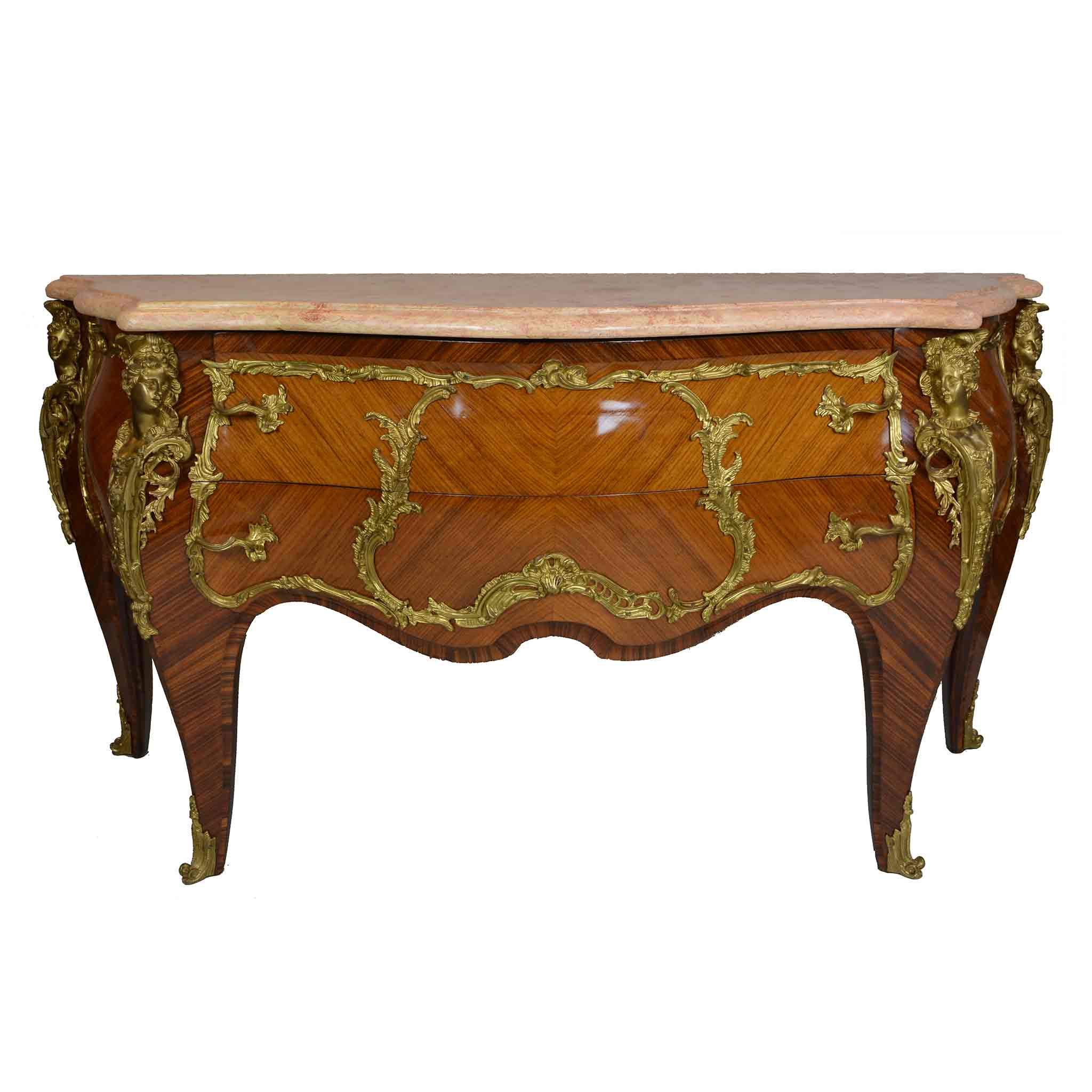 Rare Louis XV Style Gilt Bronze Mounted Marquetry Commode