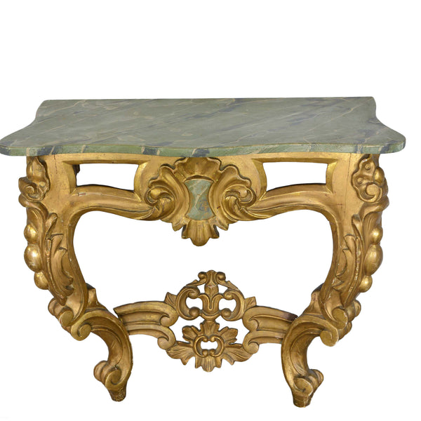 Louis XV Style Wall Mounted Console Giltwood Faux Marble Top