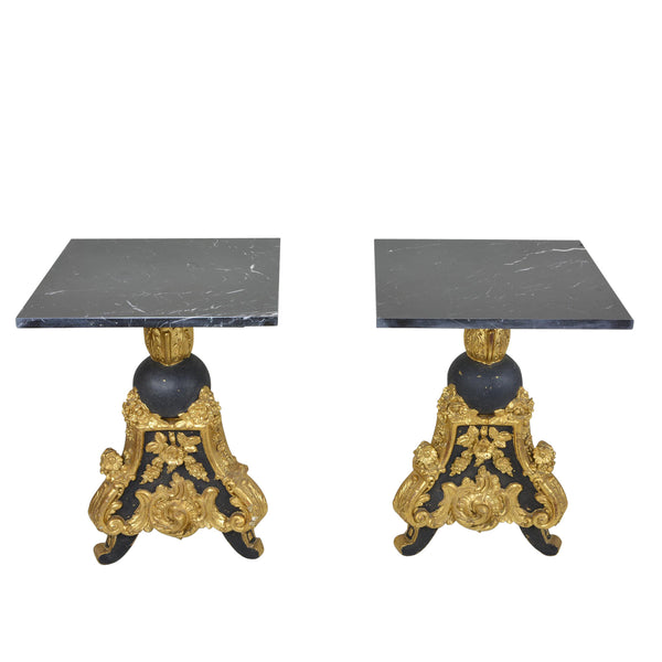 Pair Louis XV Style Black Gold Giltwood Side Tables with Marble Top