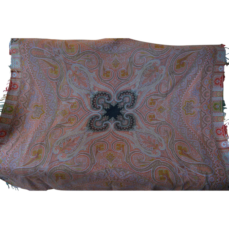 Large Woven Cashmere Paisley Throw Textile Shawl