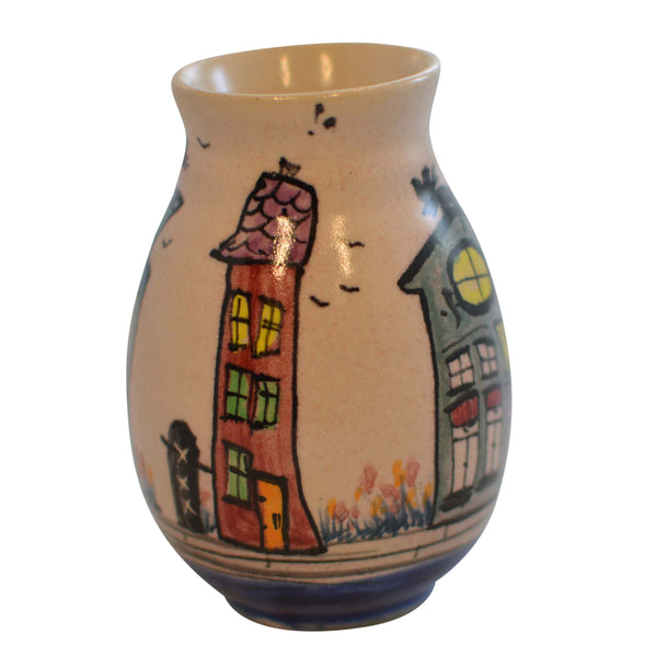 Small Bud Vase Dutch Canal Front Home Design Cats on Green House and Blue House