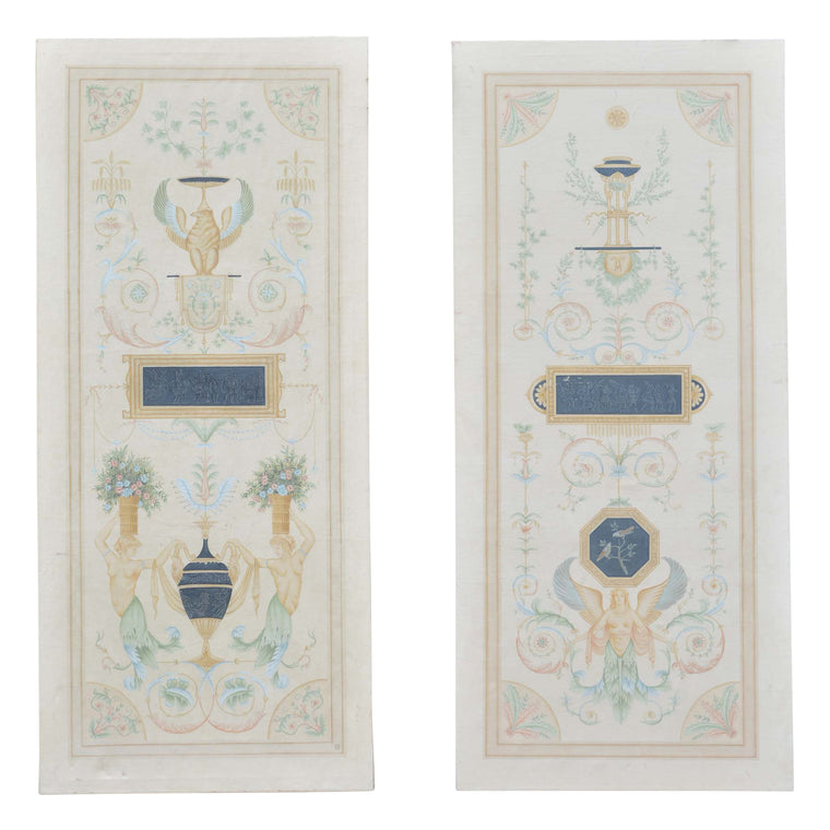 Pair of Vintage Hand-painted Neoclassical Grecian Canvas Screens