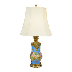 Antique Hand Painted Moorish Invasion Scene Porcelain Lamp