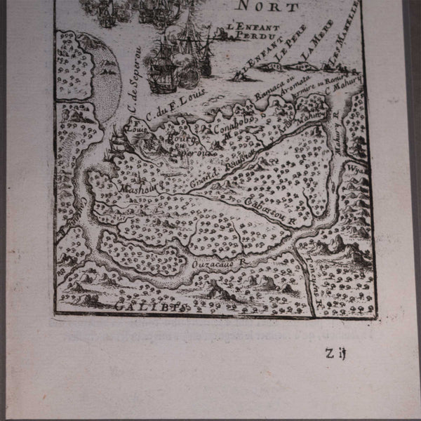 Antique Map of France Island of Cayenne European Finds Bottom Detail