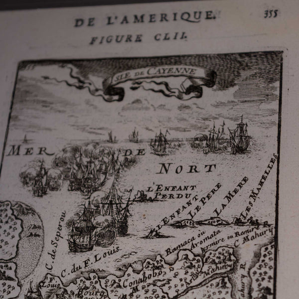 Engraving Map of France Island of Cayenne 1683 European Finds Top