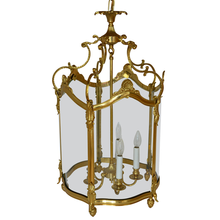 Bronze Gold Gilt Rounded Glass Lantern Fixture Chandelier