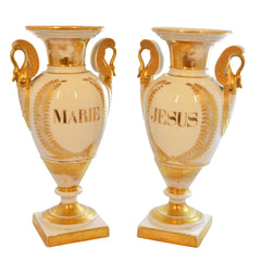 White Porcelain with Gold Detail Ceremonial Urn Vases- Pair