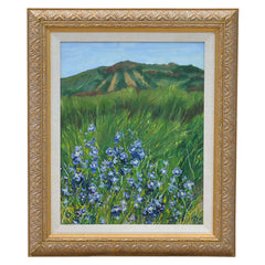 Blue Flowers Landscape Painting Signed
