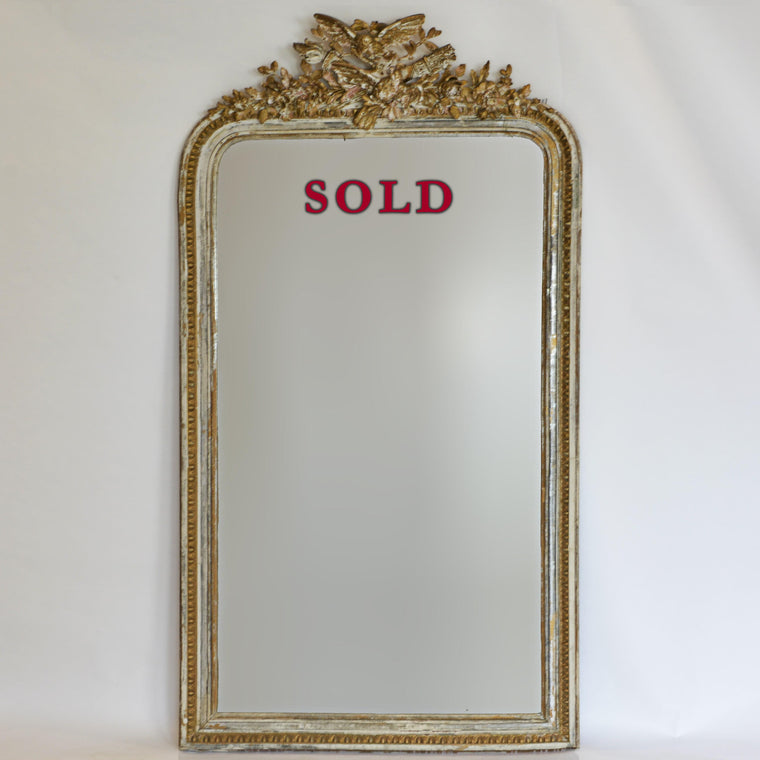 19th Century 6' Tall Mirror with Love Birds