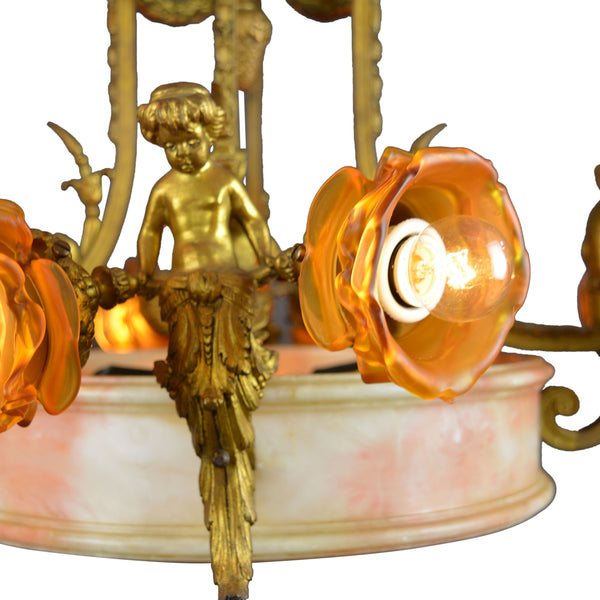 Antique Large Brass and Alabaster Center Cherub Pendant Chandelier 10-Light