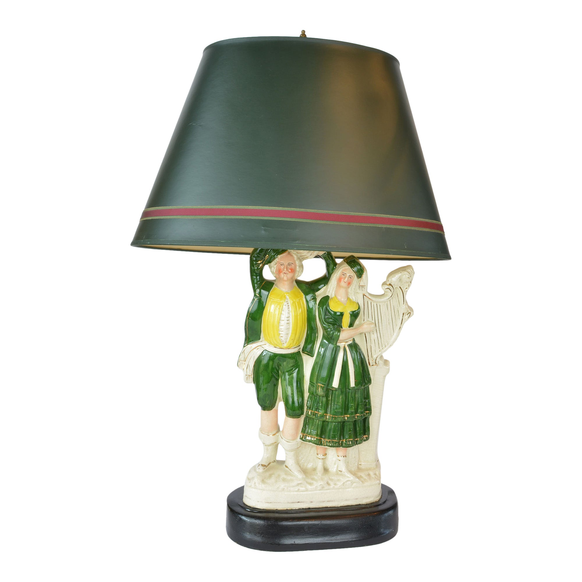 Large Antique Staffordshire Figural Lamp Couple Green Shade