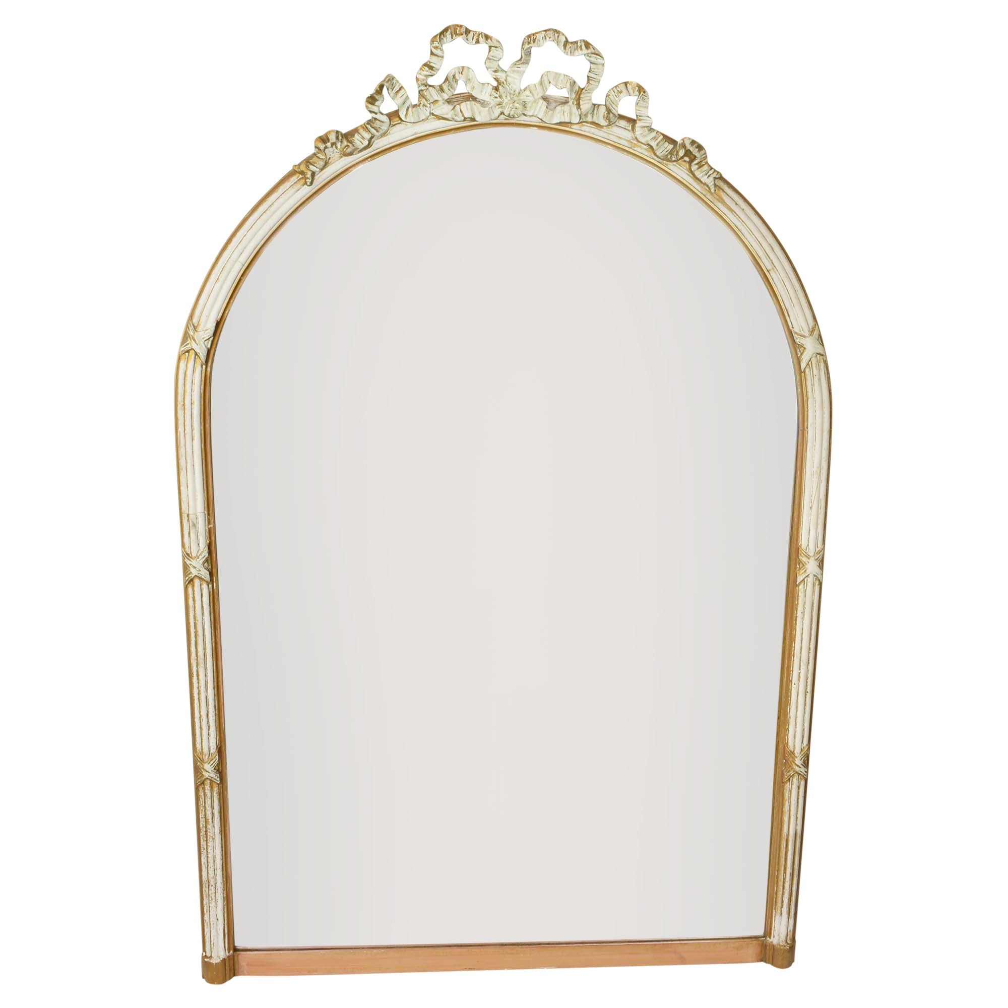 Oversized Large Antique Wall Mirror with Bow Accent