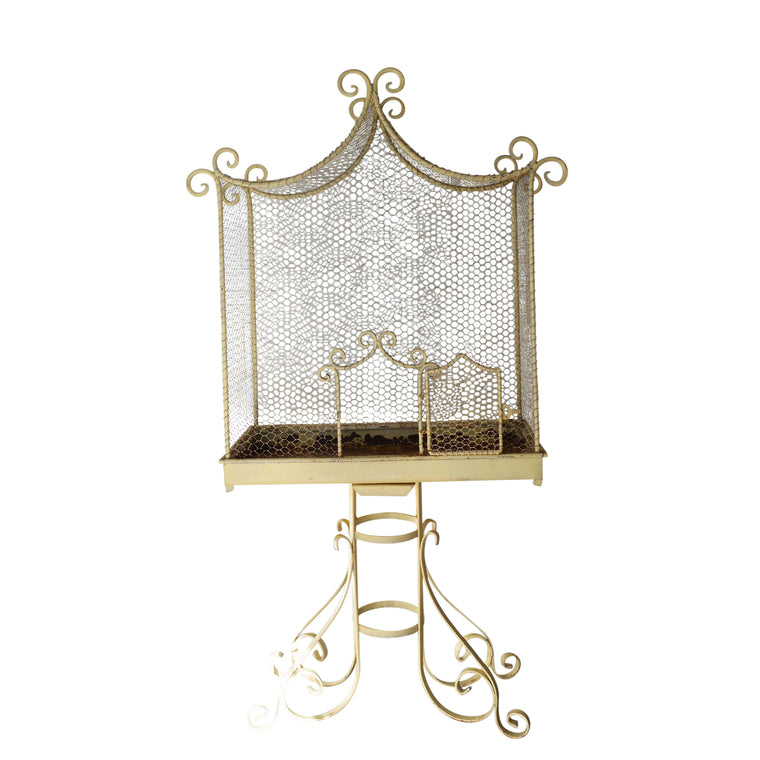 Large Creamy White Metal Bird Cage