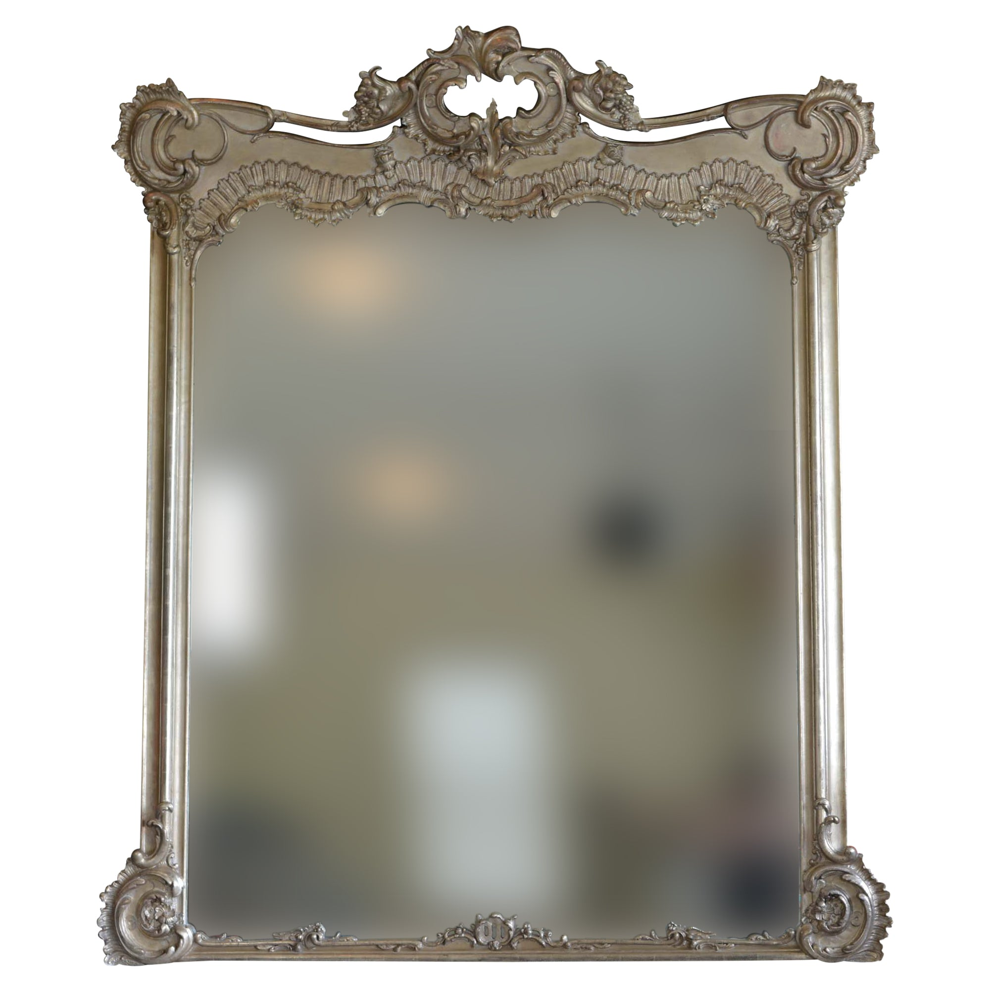 Large Silver Tone French Rococo Style Wall or Floor Mirror