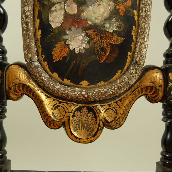 Antique High Back with Twisted Leg Side Chair Mother of Pearl and Floral Painting Detail