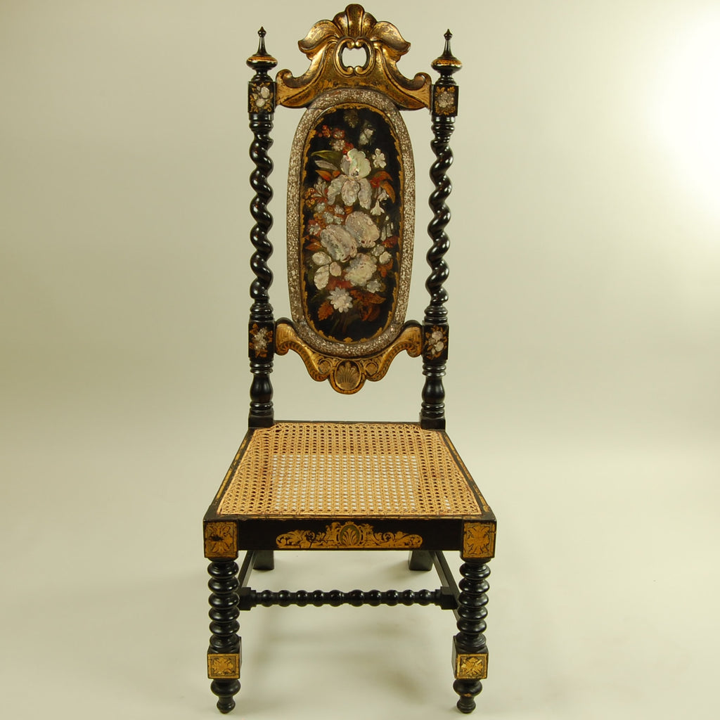 Antique High Back with Twisted Leg Side Chair ... - Antique High Back Twisted Leg Chair – European Finds