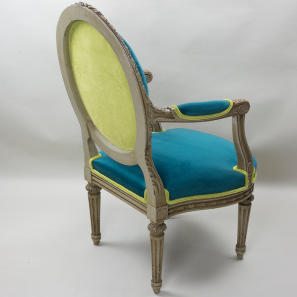 19th Century Louis XVI Arm Chairs with Cameo Backs Chair 2 Angle 3