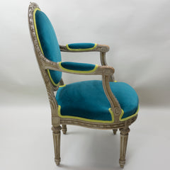 19th Century Louis XVI Arm Chairs with Cameo Backs Chair 2 Side