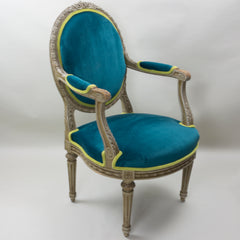 19th Century Louis XVI Arm Chairs with Cameo Backs Chair 2 Angle 1