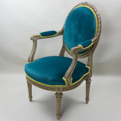 19th Century Louis XVI Arm Chairs with Cameo Backs Chair 2 Angle 5