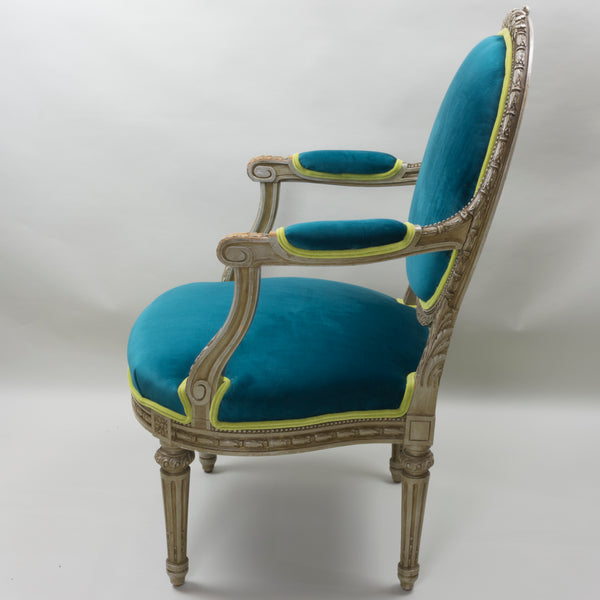 19th Century Louis XVI Arm Chairs with Cameo Backs Chair 2 Side 2